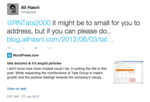 Tweet to Ratan Tata